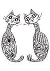 Disegno da colorare 2 gatti