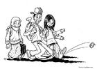 Disegno da colorare 3 bambini - multietnico