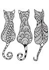 Disegno da colorare 3 gatti