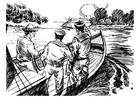 Disegno da colorare 3 uomini in barca