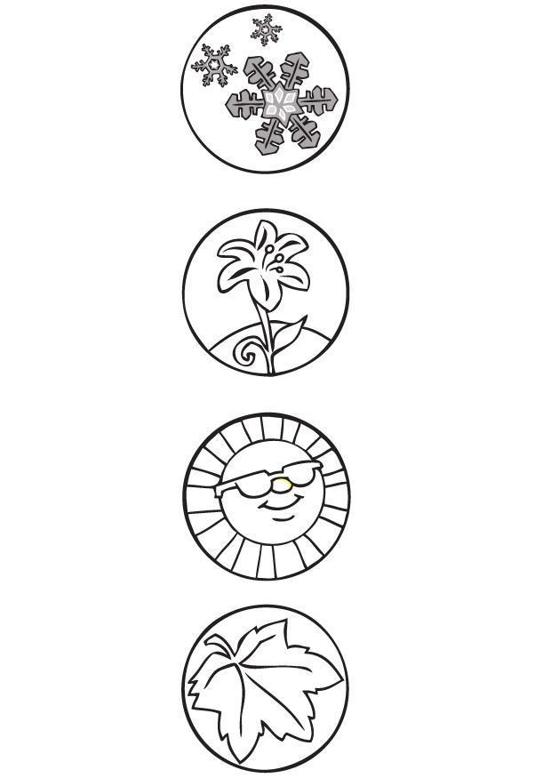 disegno da colorare 4 stagioni  simboli  disegni da