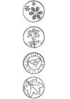 Disegno da colorare 4 stagioni - simboli
