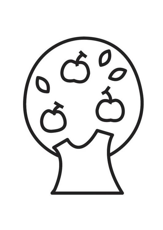 Disegno da colorare albero di mele