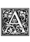 Disegno da colorare alfabeto decorativo - A