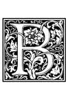 Disegno da colorare alfabeto decorativo - B