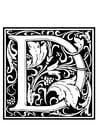 Disegno da colorare alfabeto decorativo - D