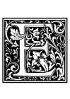 Disegno da colorare alfabeto decorativo - E