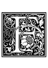 Disegno da colorare alfabeto decorativo - F