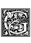 Disegno da colorare alfabeto decorativo - G