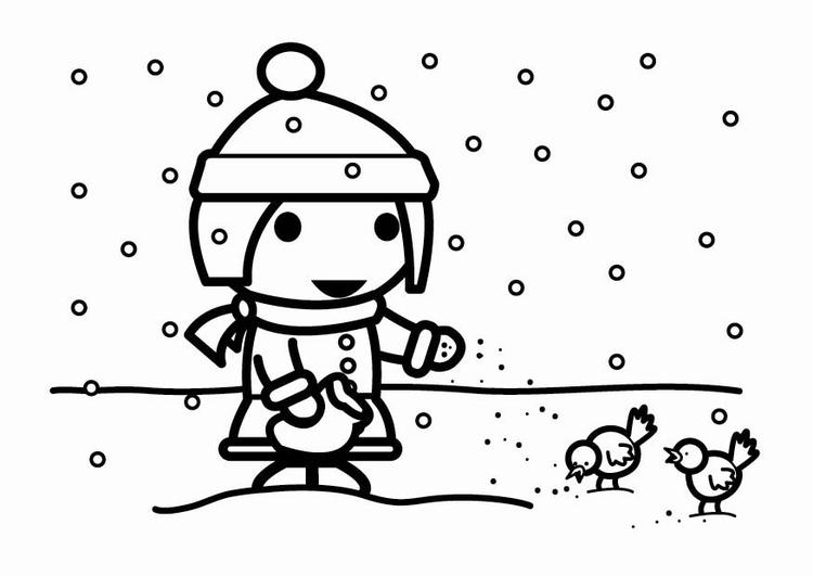 disegno da colorare alimentare gli uccellini nella neve