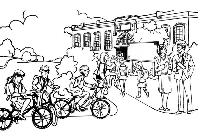 Disegno Da Colorare Andare A Scuola Scuola Primaria Cat 8047