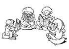 Disegno da colorare angolo di lettura