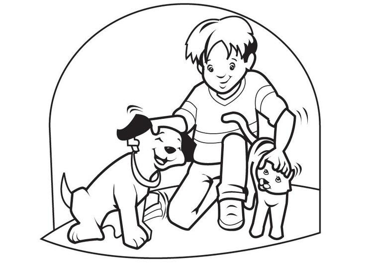Disegno Da Colorare Animali Domestici Cane Cat 7096