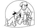 Disegno da colorare animali domestici - cane e gatto