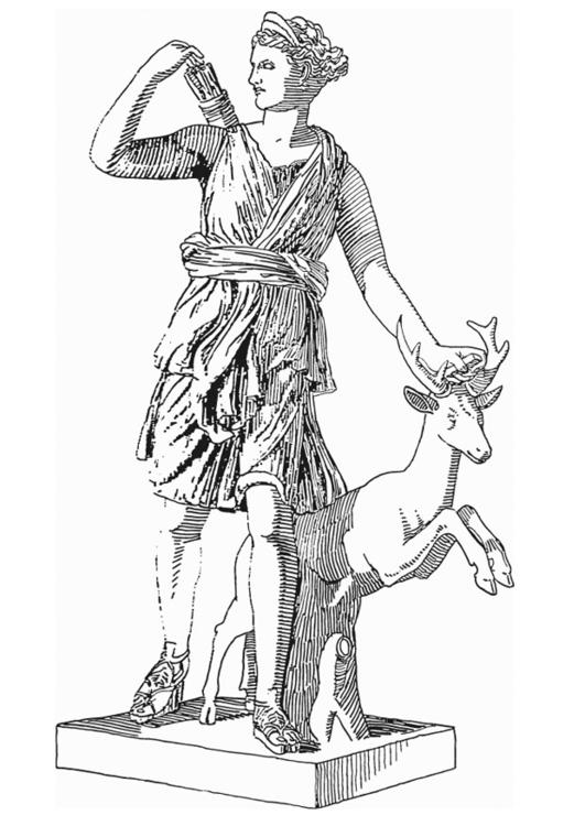 Disegno Da Colorare Artemide Dea Della Mitologia Greca Cat 18613
