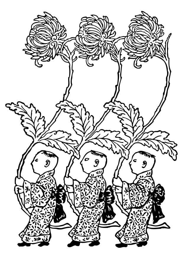Disegno Da Colorare Asia Portatori Di Crisantemi Gialli