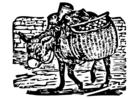 Disegno da colorare asino carico