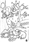 Disegno da colorare autunno - riccio e scoiattolo