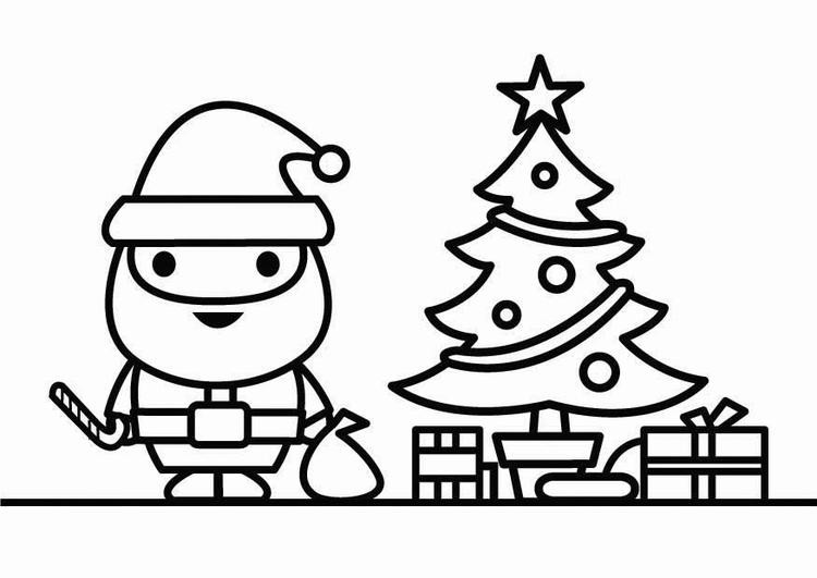 Disegno Da Colorare Babbo Natale Con Albero Di Natale