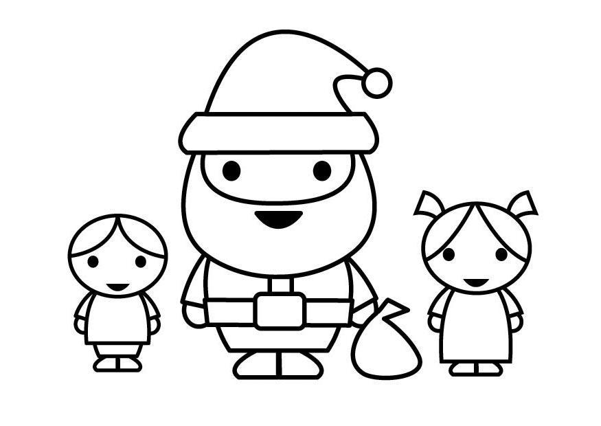 Disegno Da Colorare Babbo Natale Con Bambini Cat 23108