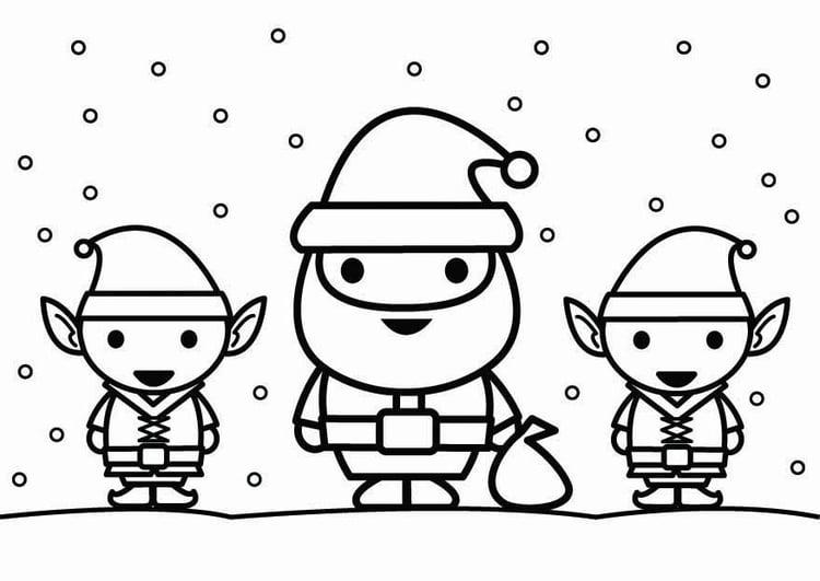 Disegno Da Colorare Babbo Natale Con Elfi Disegni Da Colorare E