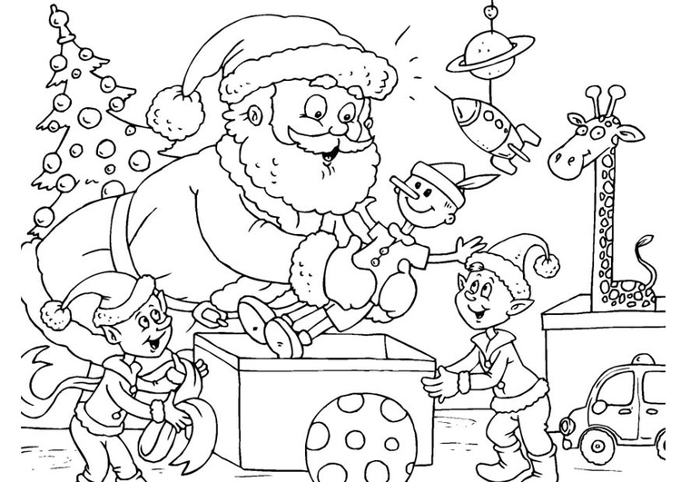 Immagini Da Colorare Babbo Natale.Disegno Da Colorare Babbo Natale Con Gli Elfi Cat 23389