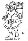 Disegno da colorare Babbo Natale con regali