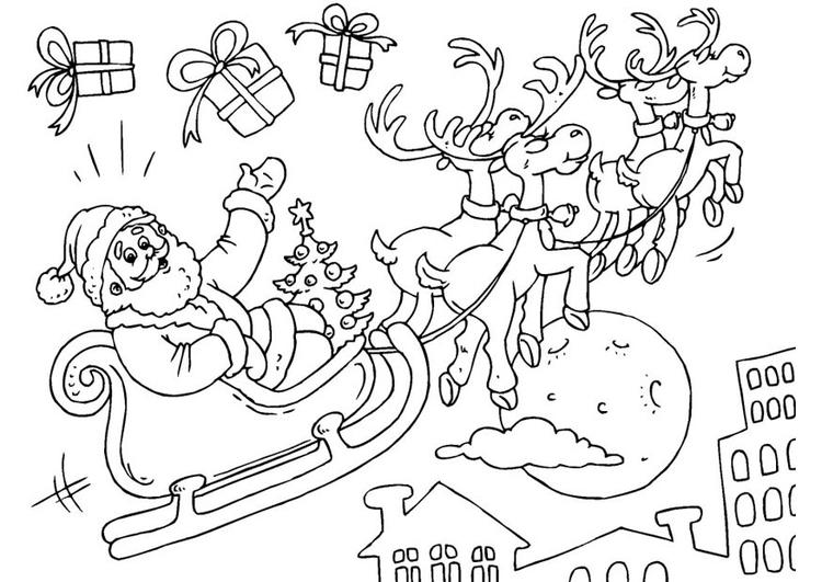 Disegno Da Colorare Babbo Natale In Slitta Cat 23379