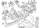 Disegno da colorare Babbo Natale in slitta