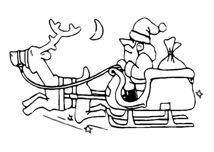 Disegno Da Colorare Babbo Natale Sulla Slitta Cat 8641