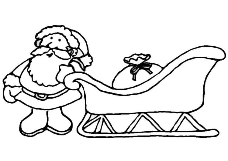 Disegno Da Colorare Babbo Natale Sulla Slitta Cat 8657