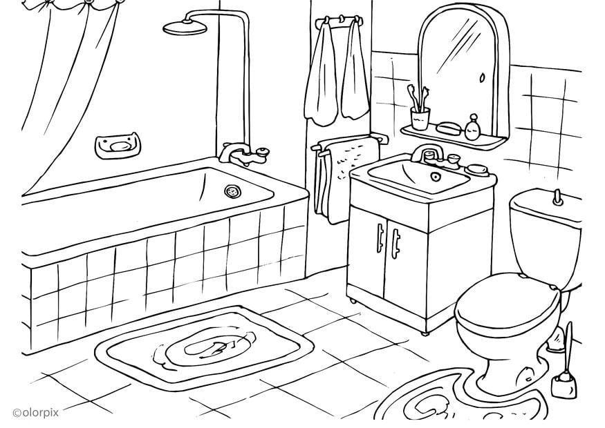 Disegno da colorare bagno cat 25994 - Disegno di un bagno ...