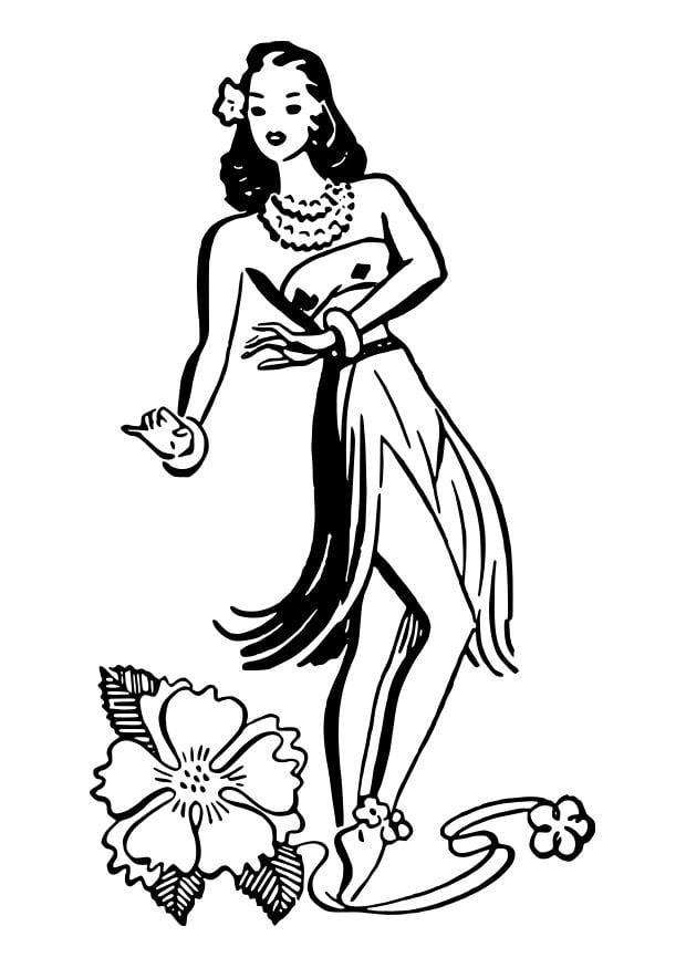 Disegno Da Colorare Ballerina Di Hula Disegni Da