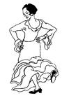 Disegno da colorare ballerina flamenco