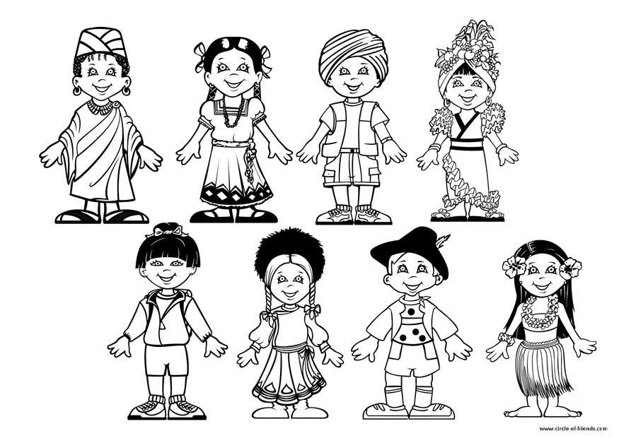 Immagine Bimbo Da Colorare: Disegno Da Colorare Bambini Del Mondo