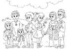 Disegno da colorare bambini musulman con bimbi occidentali