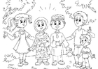 Disegno da colorare bambini musulmano con bimbi occidentali