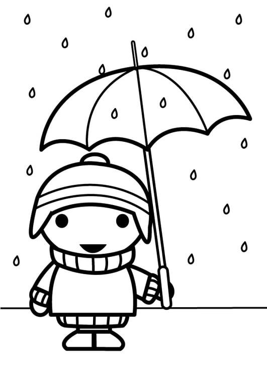 Disegno Da Colorare Bambino Con Ombrello Cat 26885 Images