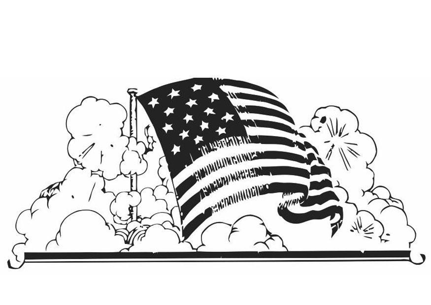 Disegno da colorare bandiera americana - Cat. 19846.