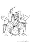Disegno da colorare batterista