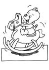 Disegno da colorare bébé sul cavallo a dondolo