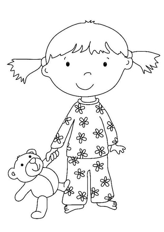 Disegno Da Colorare Bimba Con Peluche Cat 15833 Images