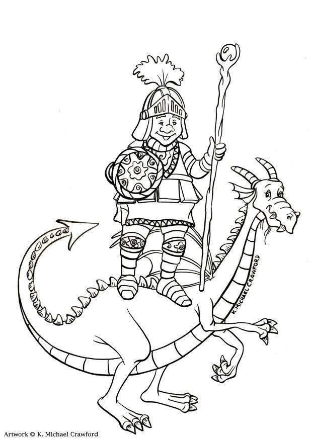 disegno da colorare cacciatore di draghi  disegni da