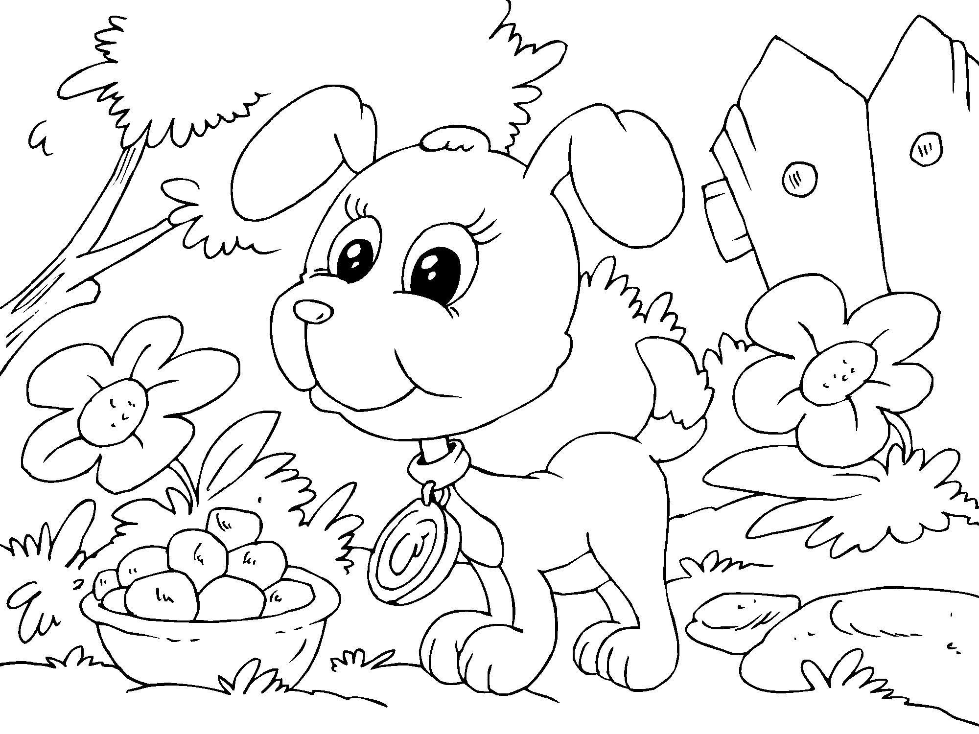 disegno da colorare cagnolino