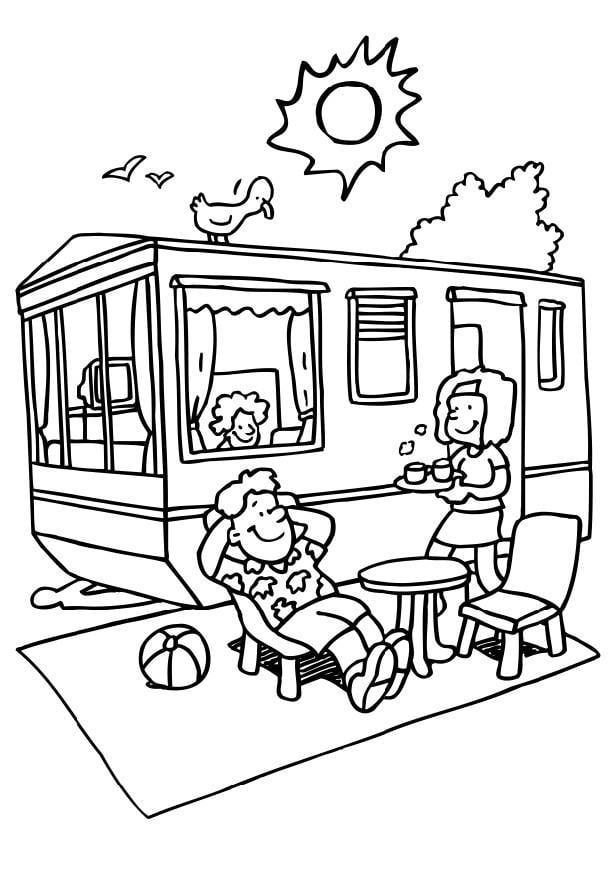 disegno da colorare campeggio