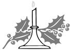 Disegno da colorare candela natalizia