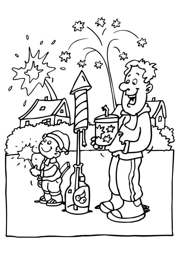 Disegno da colorare capodanno fuochi d 39 artificio cat for Scarica clipart