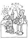 Disegno da colorare Capodanno - fuochi d'artificio