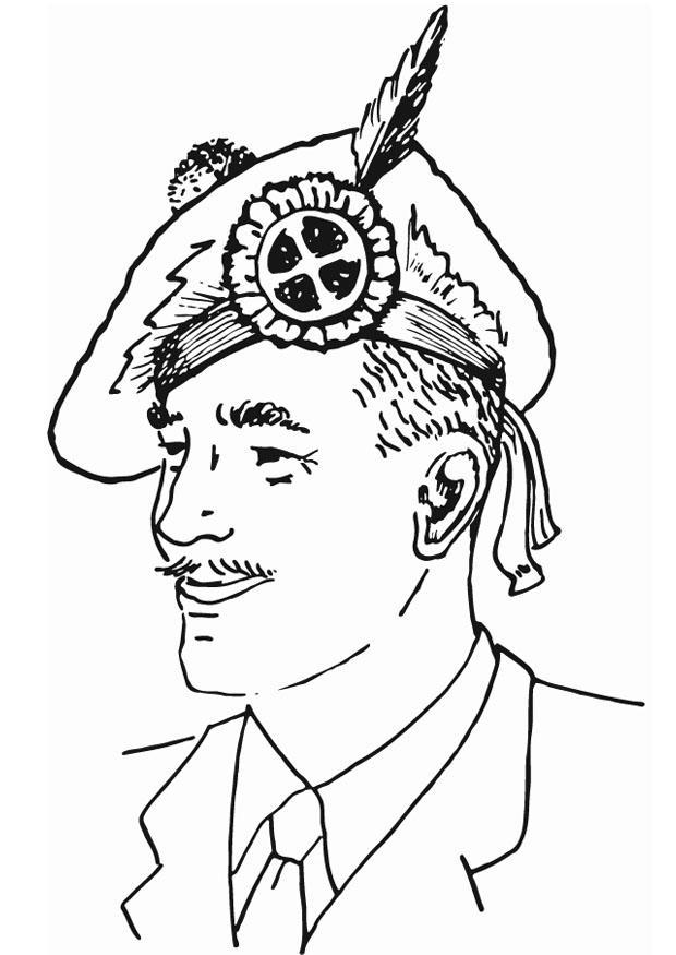 Disegno da colorare cappello scozzese cat 13286 for Cappello disegno da colorare