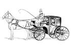 Disegno da colorare carrozza con cavallo e cavalliere